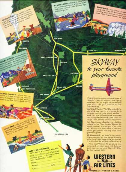 Western Airl Lines – Route Map – Colorful (1947)