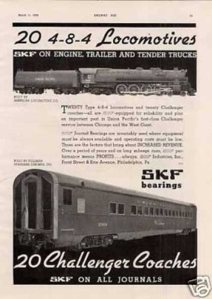 Skf Ad Union Pacific Alco 4-8-4 #806/p-s Coach (1939)