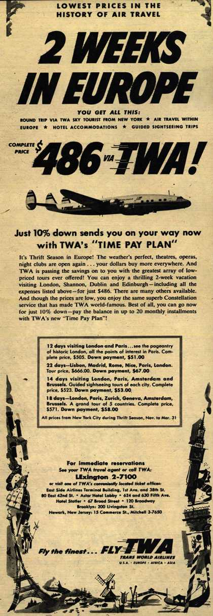 Trans World Airline's Time Pay Plan – 2 Weeks In Europe, $486 TWA (1954)