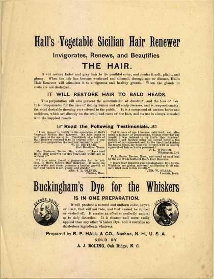 R. P. Hall & Co.'s Hall's Vegetable Sicilian Hair Renewer – Hall's Vegetable Sicilian Hair Renewer