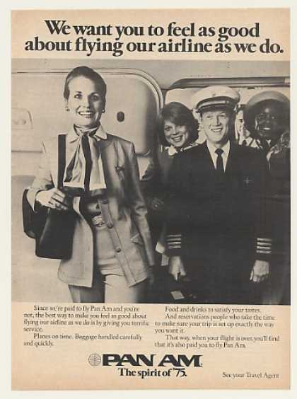'75 Pan Am Airlines Feel Good Stewardess Pilot Photo (1975)