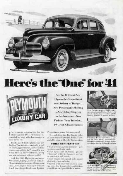"Plymouth ""Here's the One for '41"" (1941)"