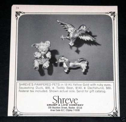 Shreve Jeweler Gold Pets, Boston (1964)