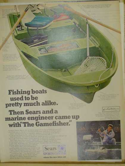 Sears sports center. Fishing boats. The Gamefisher. (1970)