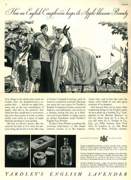 Yardley & Co., Ltd.'s Face Powder – How an English Complexion keeps its Apple-blossom Beauty (1933)