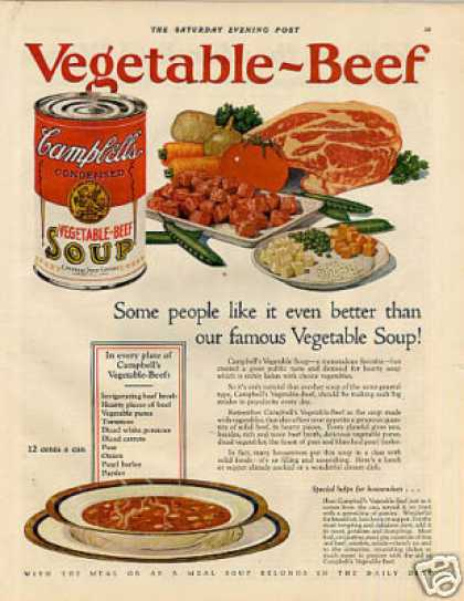 Campbell's Vegetable-beef Soup Color (1927)