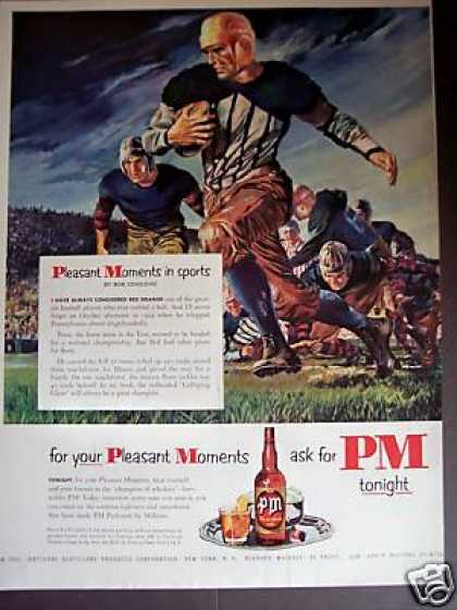 Football Player Red Grange Art Pm Whiskey (1951)