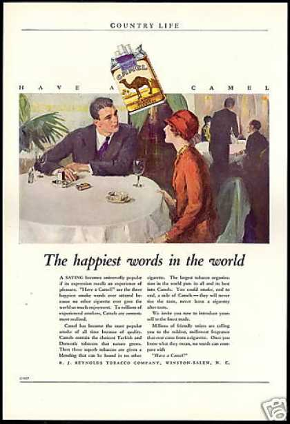 Have A Camel Cigarette Happiest Words in World (1927)