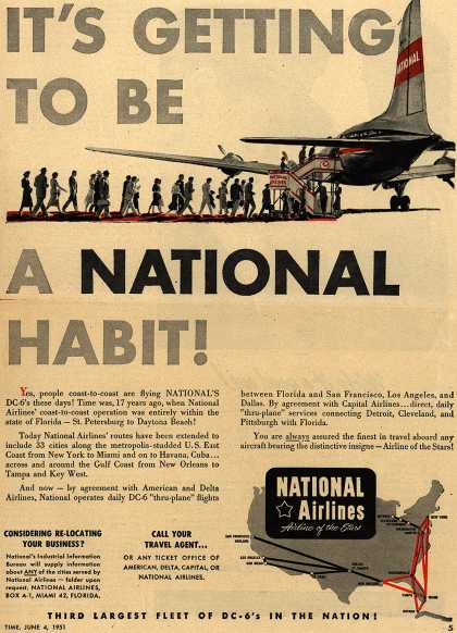 National Airline's DC-6's Routes – It's Getting To Be A National Habit (1951)