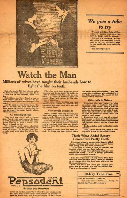 Pepsodent Company's Pepsodent Tooth Paste – Watch the Man (1922)