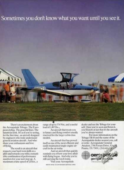 Aerospatiale Tobago Nice Color Photo Airplane (1988)