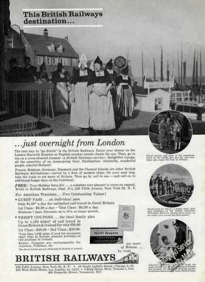 British Railways Travel Ad Holland Dutch Costumes (1963)