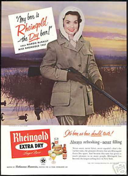 Duck Hunting Shotgun Miss Rheingold Beer (1957)