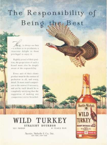 Wild Turkey Bourbon Whiskey Bootle (1961)