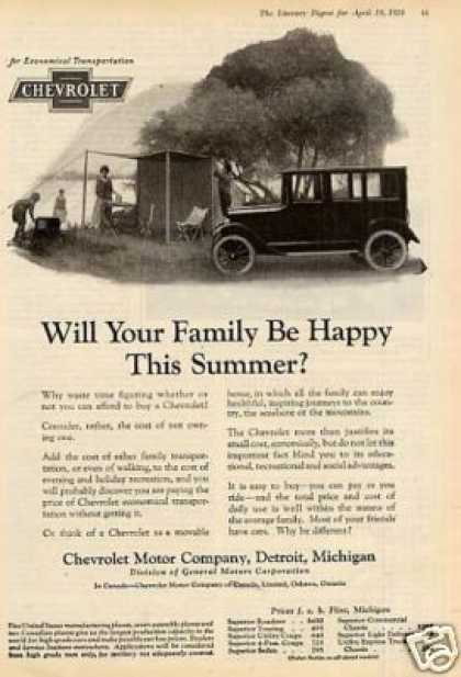 "Chevrolet Car Ad ""Will Your Family Be... (1924)"