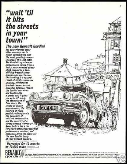 Renault Gordini Car City Streets Briggs Art (1961)