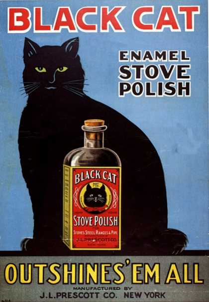Cats Black Cat Enamel Stove Polish Products, USA (1920)
