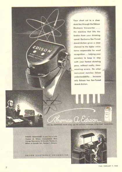 Thomas A. Edison Incorporation – Ear Tuned Voicewriter (1948)