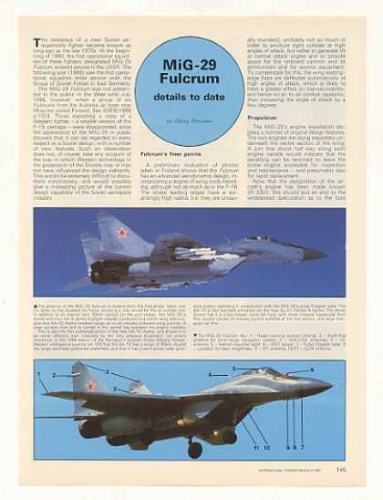 MiG-29 Fulcrum Soviet Aircraft 3-Pg Photo Article (1987)