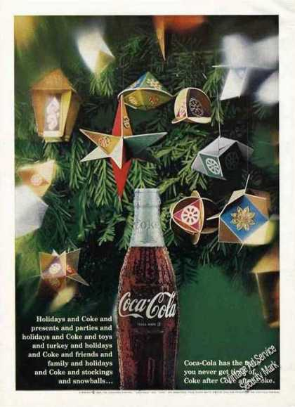 Coke Coca-cola Christmas Decorations Holidays (1967)