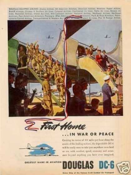 "Douglas Dc-6 Aircraft Ad ""First Home... (1945)"