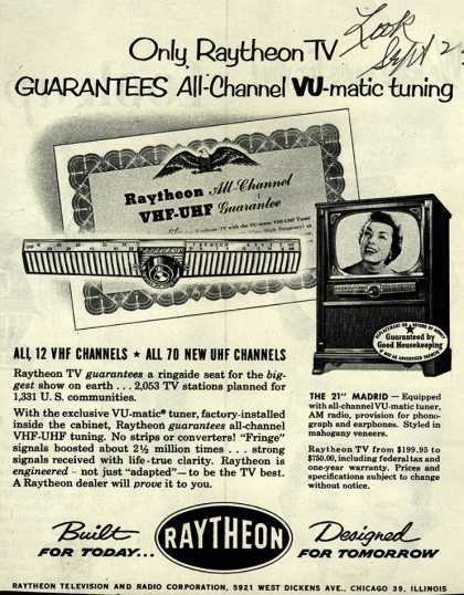 Raytheon Television and Radio Corporation's Television with VHF-UHF Tuner – Only Raytheon TV Guarantees All-Channel VU-Matic tuning (1952)
