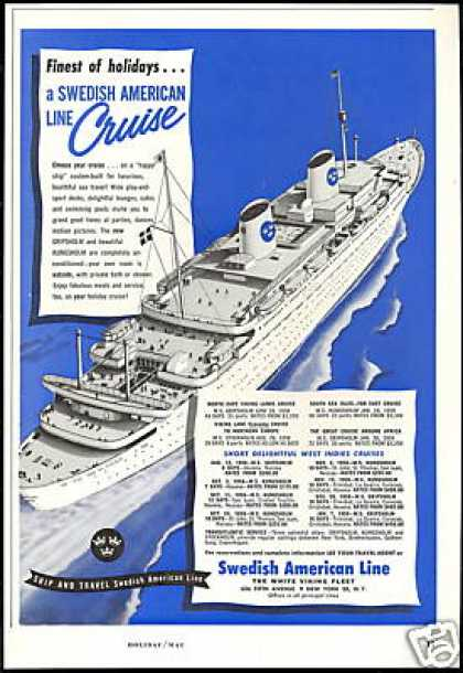 Swedish American Line Cruise Ship Vintage (1958)