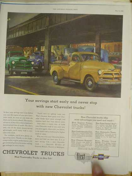Chevrolet Trucks. Your savings start early and never stop (1952)