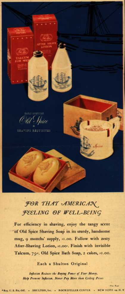 Shulton's Old Spice Shaving kit – For That American Feeling Of Well-Being (1945)