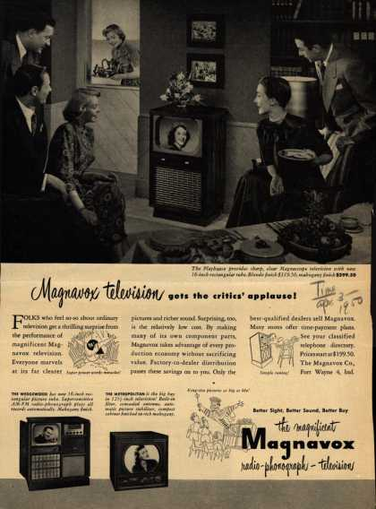 Magnavox Company's various – Magnavox Television gets the critics' applause (1950)