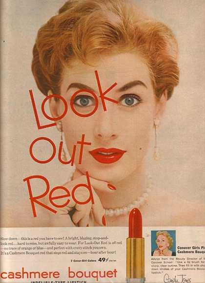 "Cashmere Bouquet's indelible-type Lipstick"" (1954)"