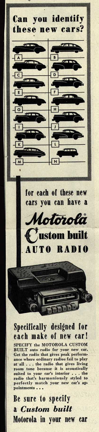 Motorola's Custom Built Auto Radio – Can You Identify These New Cars? (1949)