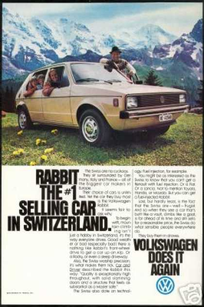 VW Volkswagen Rabbit Switzerland Alps Photo (1979)