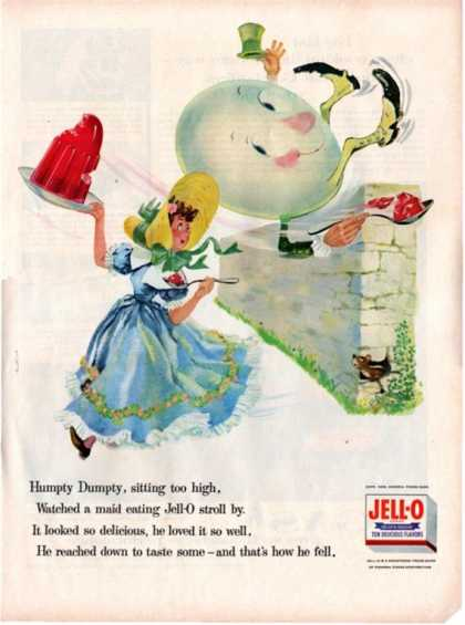 Jell-o Humpty Dumpty Nursery Rhyme Ad Child Kids (1956)