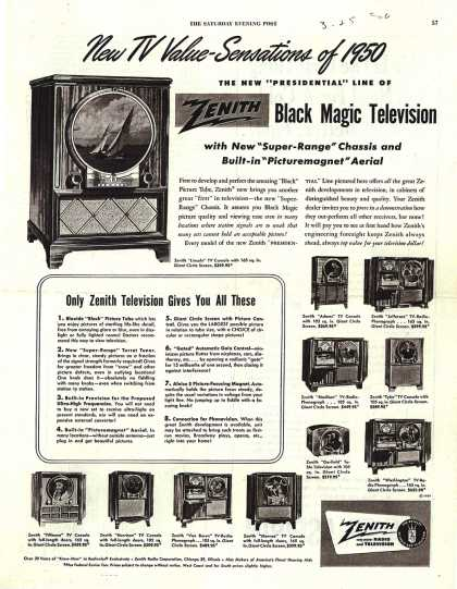 Zenith Radio Corporation's Televisions – New TV Value-Sensations of 1950 (1950)