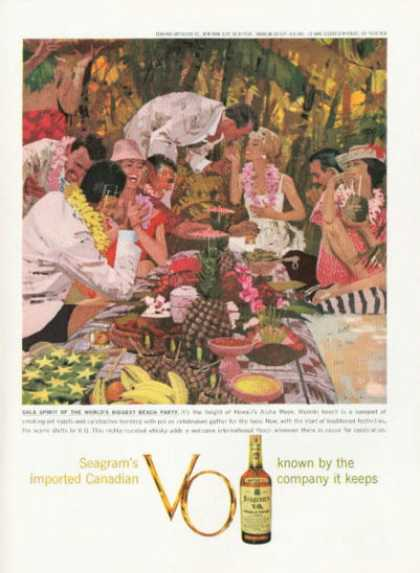 Seagram's Whisky Ad Hawaii Aloha Week Waikiki (1959)