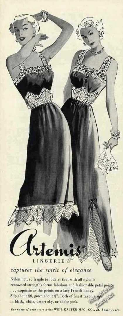 Artemis Lingerie Drawings Fashion (1950)