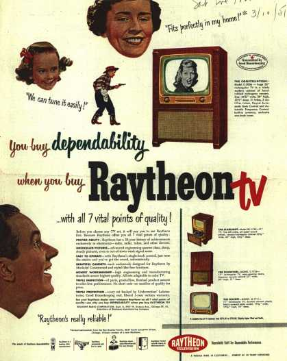 Raytheon Manufacturing Company's Television – You buy dependability when you buy Raytheon tv. (1951)