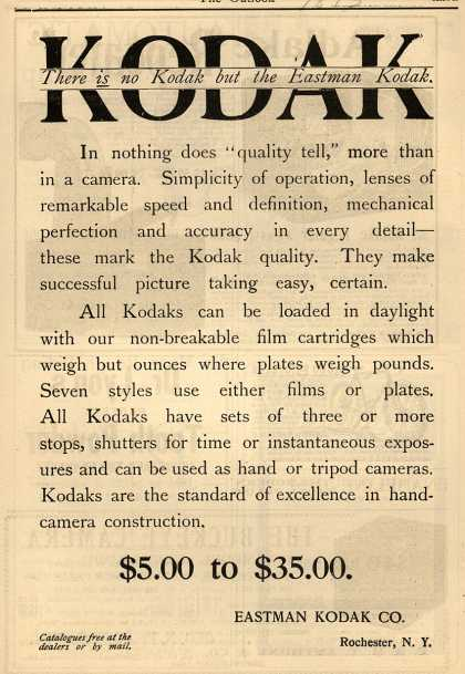 Kodak – There is no Kodak but the Eastman Kodak (1893)