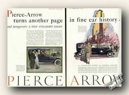 Pierce Arrow Beautiful 2 Page Color Car Ad Antique (1929)