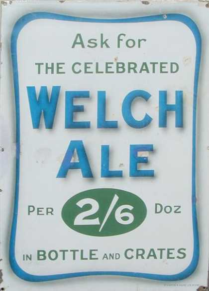 Welch Ale Enamel Sign