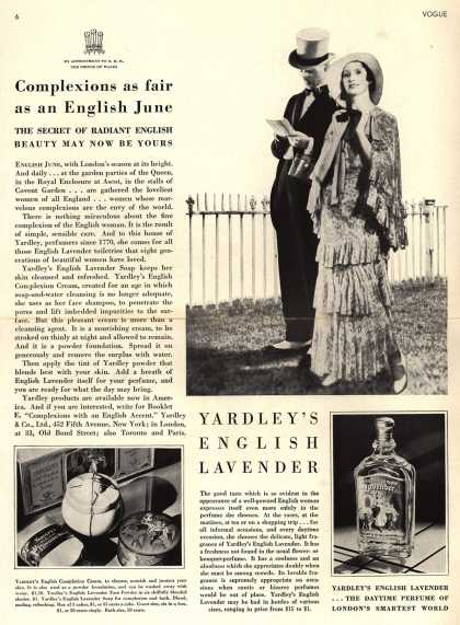 Yardley & Co., Ltd.'s English Lavender Cosmetics – Complexions as fair as an English June (1931)