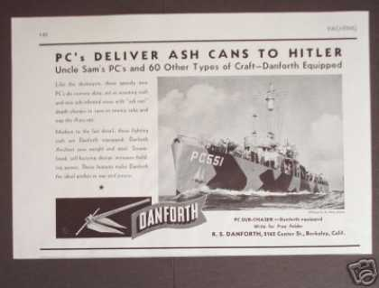 Pc Boats Deliver Ash Cans To Enemy Subs (1943)
