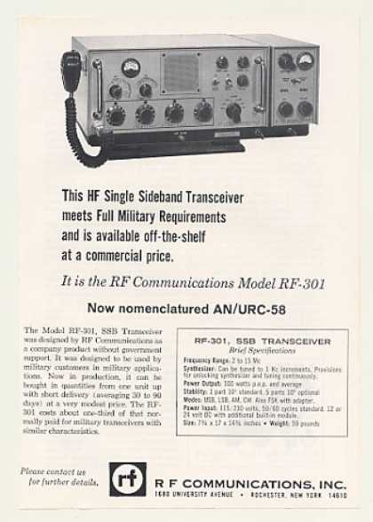 R F Communications Model RF-301 SSB Transceiver (1966)