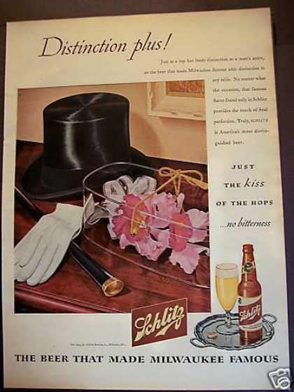 Schlitz Milwaukee Beer Biondi Art (1945)