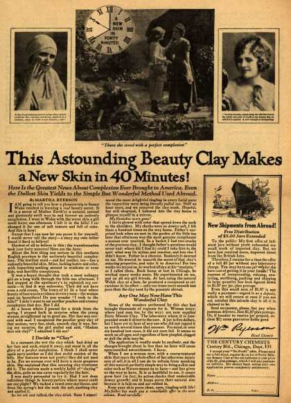 Century Chemist's Forty Minute Beauty Clay – This Astounding Beauty Clay Makes a New Skin in 40 Minutes (1922)
