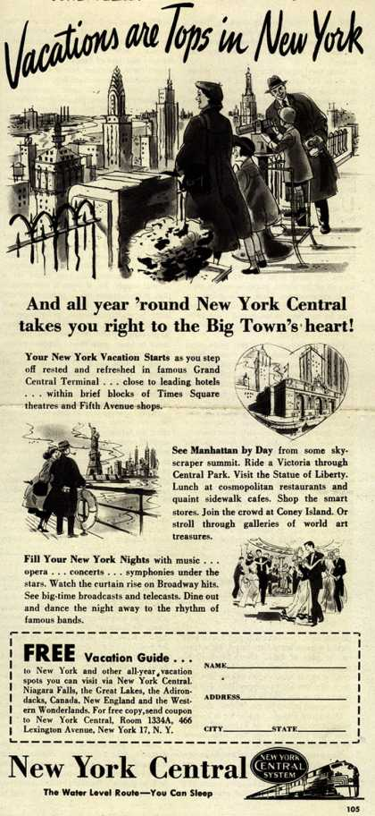 New York Central System's New York Vacations – Vacations are Tops in New York (1949)
