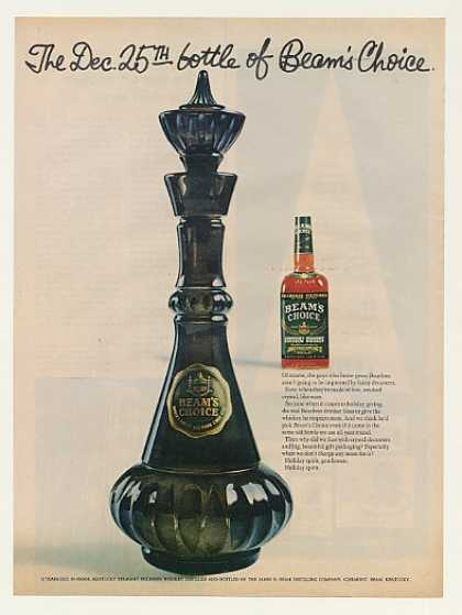 Beam's Choice Whiskey Dec 25th Crystal Decanter (1964)