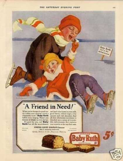 Curtiss Baby Ruth Candy Color Ad Gulbransen Art (1927)
