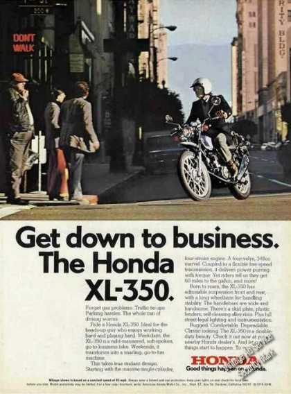 Honda Xl-350 On City Street Photo (1974)